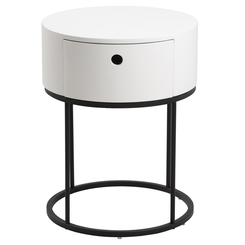 Polo rund natbord, m. 1 skuffe - hvid træ og sort metal (Ø40)