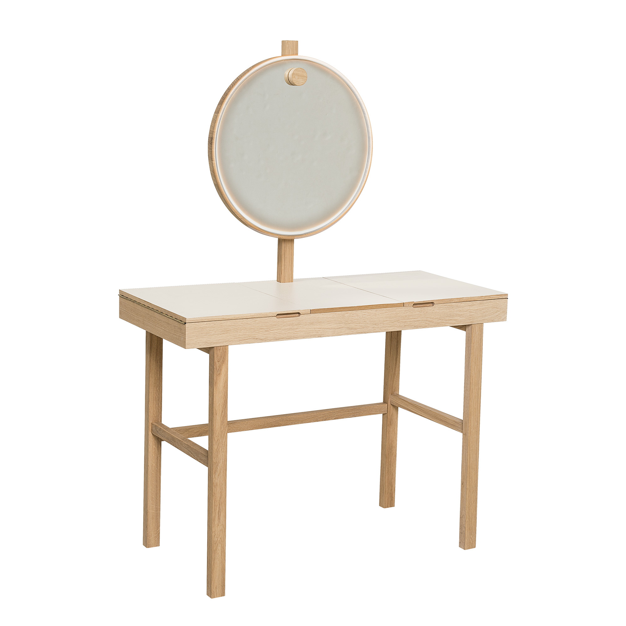 BLOOMINGVILLE Phine makeup bord - natur/hvid egetræ, m. opbevaring og spejl