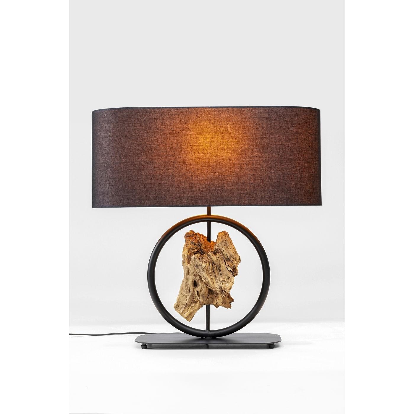 kare design Kare design nature circle bordlampe - natur genbrugstræ samt sort bomuld og stål (h:65cm) på boboonline.dk
