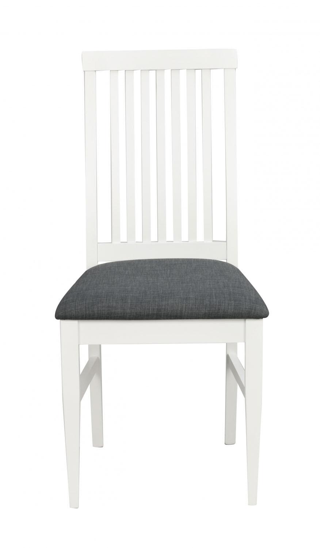 Kansas spisebordsstol - hvid/gråt stof