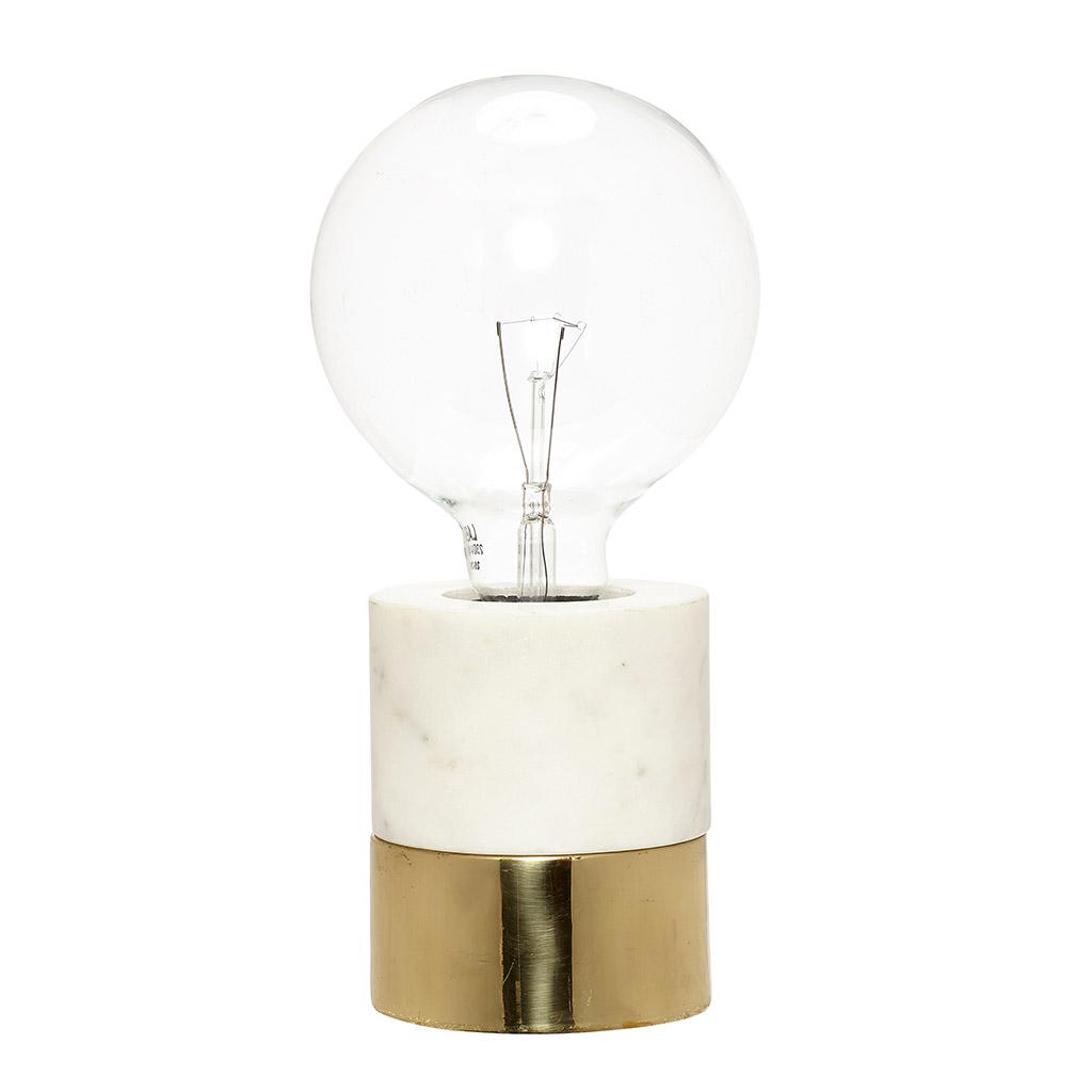 Billede af HÜBSCH Bordlampe i marmor/messing, hvid