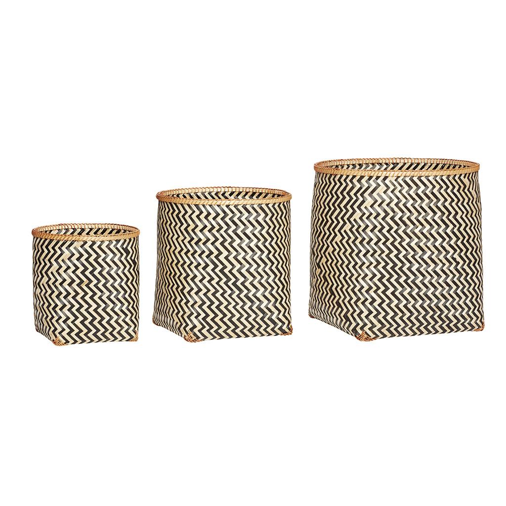 Billede af Hübsch Rund bambus kurv, natur/sort, 3 stk.