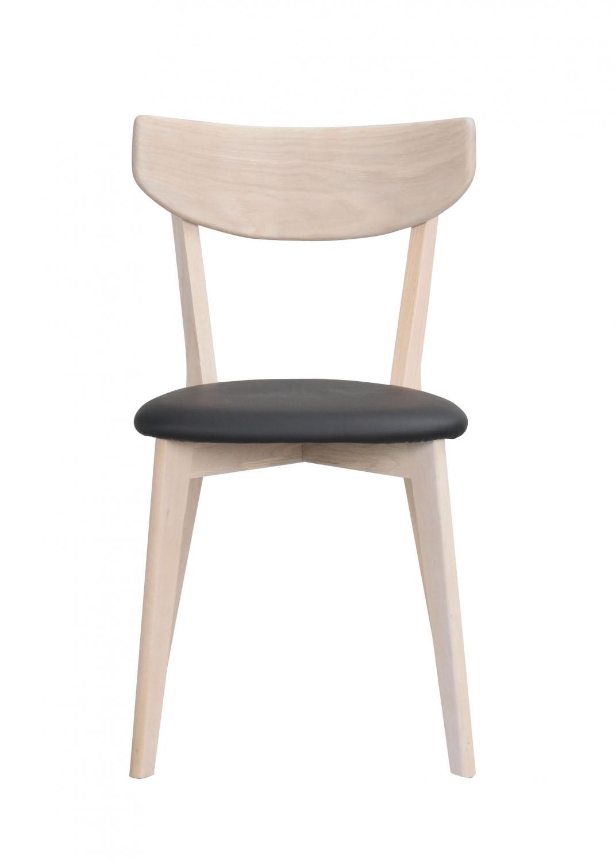 Image of   Ami spisebordsstol - hvidpigmenteret eg og sort PU læder