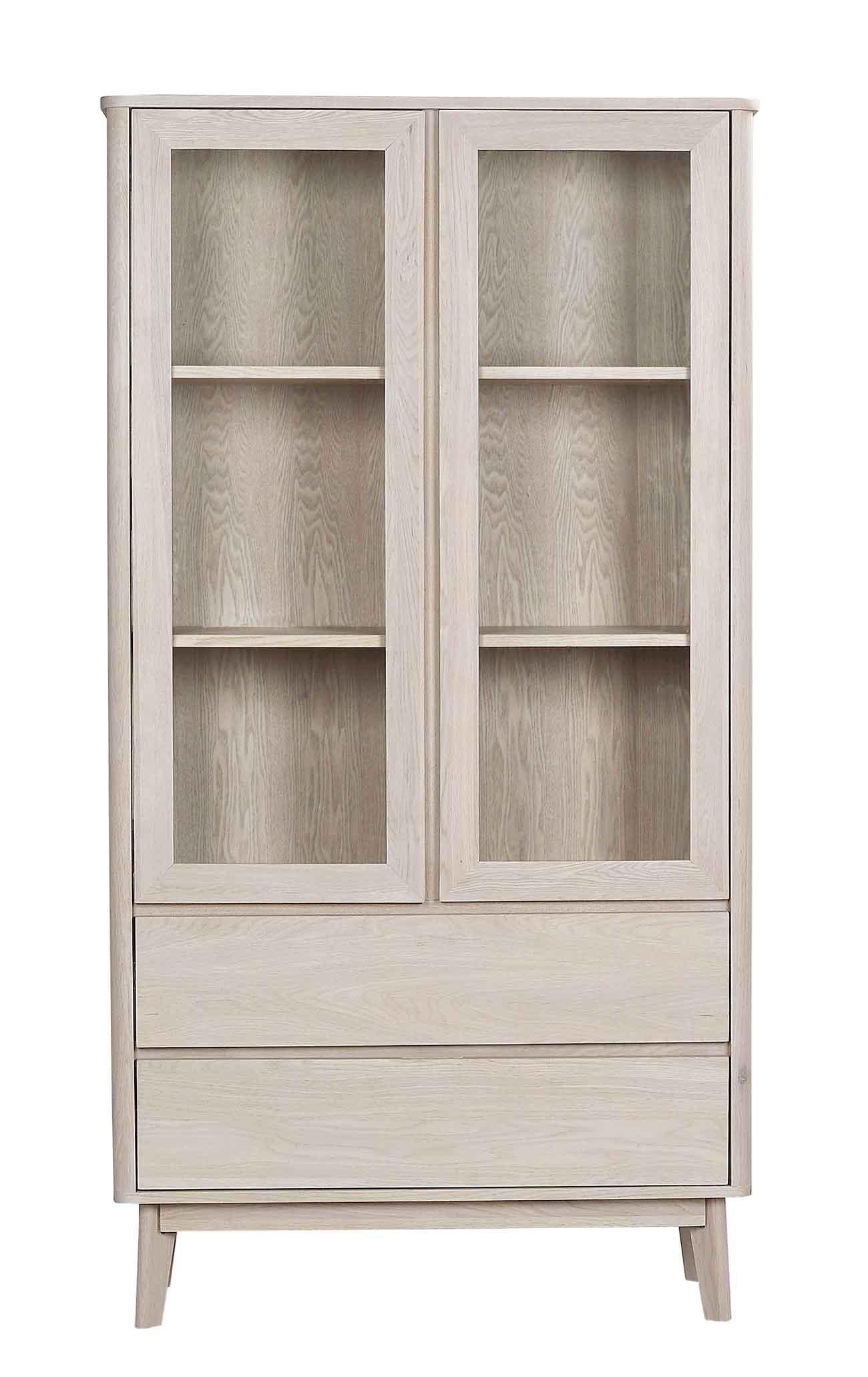 Yumi vitrineskab - Hvidpigmenteret egetræ, 2 låger/2 skuffer