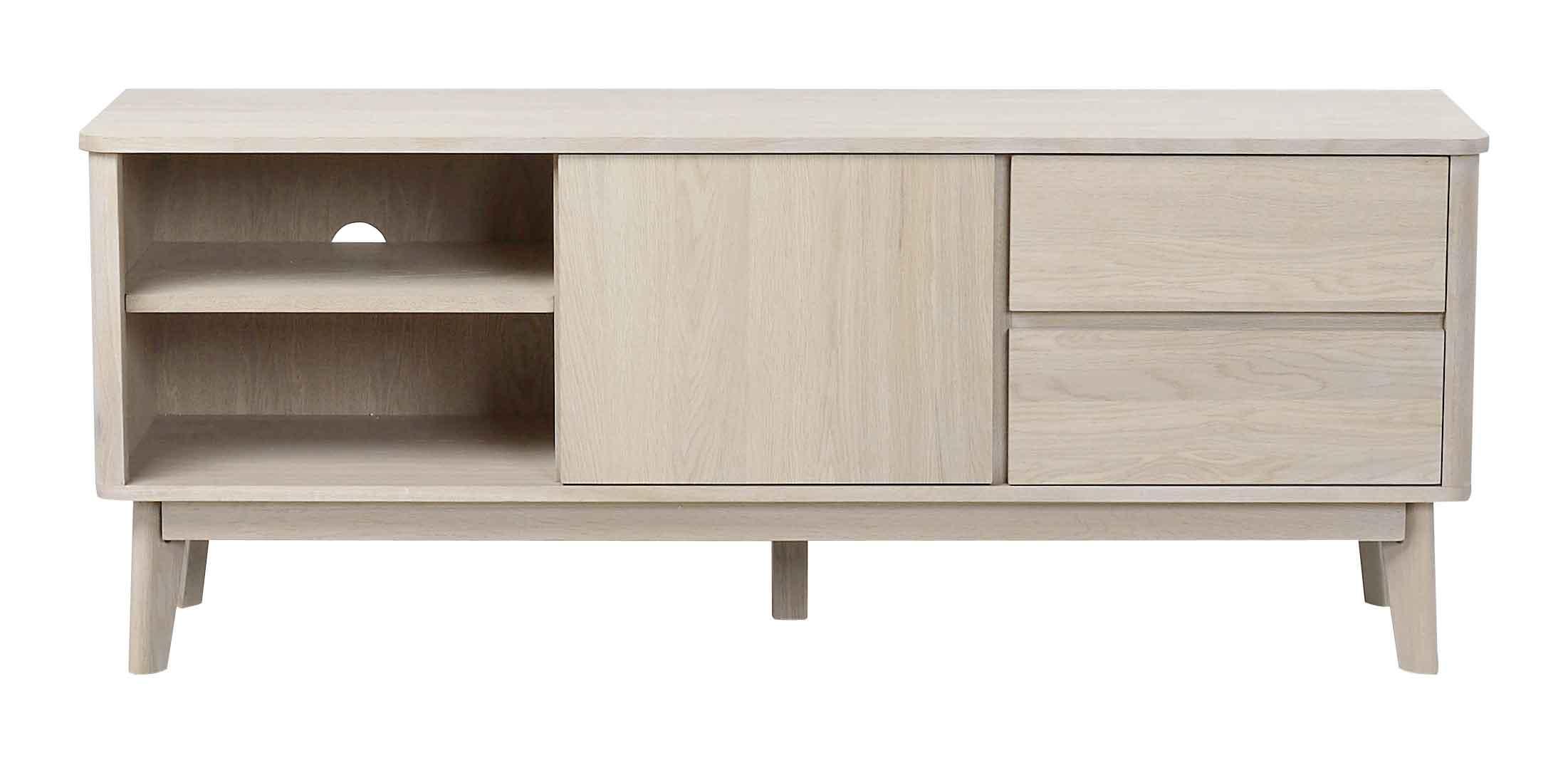 Billede af Yumi TV-bord - Hvidpigmenteret egetræ 2 skuffer/2 hylder/1 låge