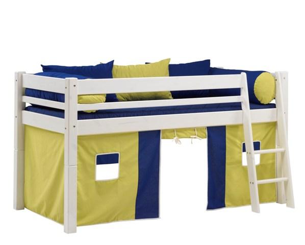 SCANLIVING Mojo halvhøj seng m. stige, 90x200 - hvid træ, m. blåt og lime forhæng, inkl. puder thumbnail
