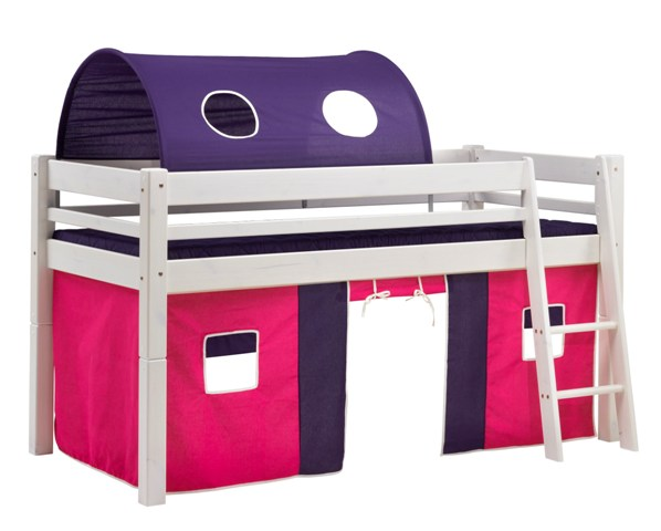 SCANLIVING Mojo halvhøj seng, 90x200 - hvid træ, m. rød og lilla forhæng, m. tag thumbnail