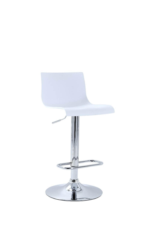 Bardalino barstol - hvid plast og stål, m. hæve/sænke funktion