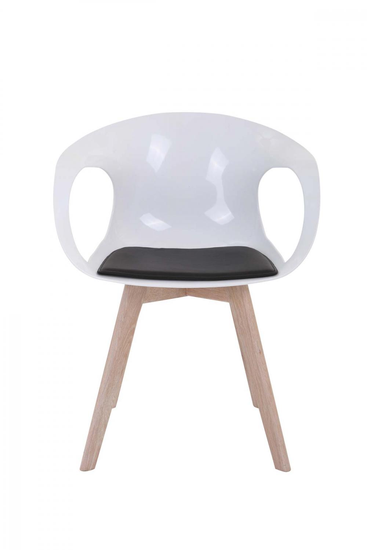 PREFORM Tomcat spisebordsstol - hvid plastik og eg, m. armlæn