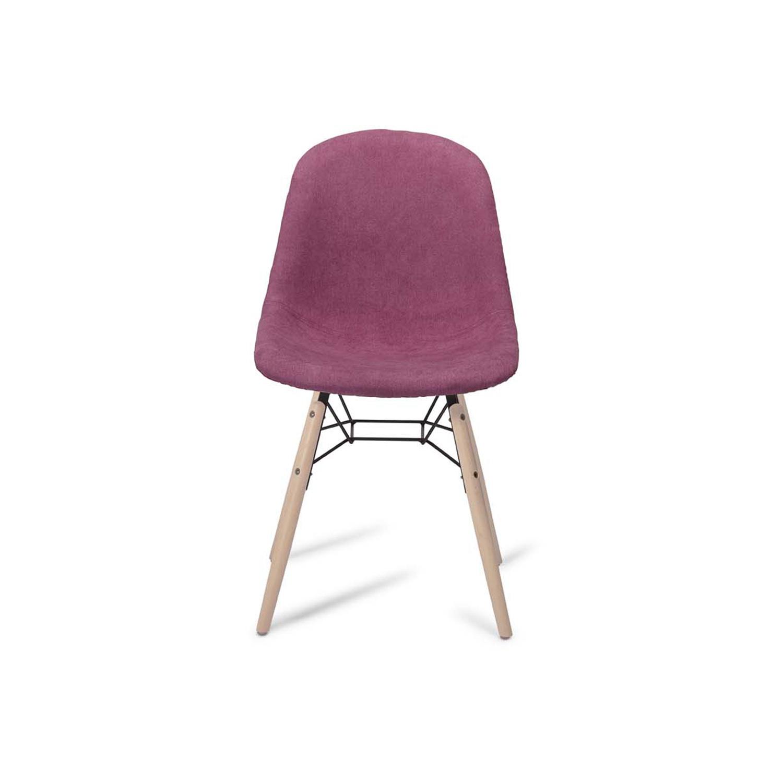 Sun spisebordsstol - lyserød/lilla stof og natur træ
