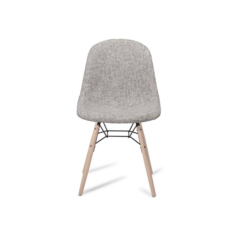Sun spisebordsstol - grå/rød stof og natur træ