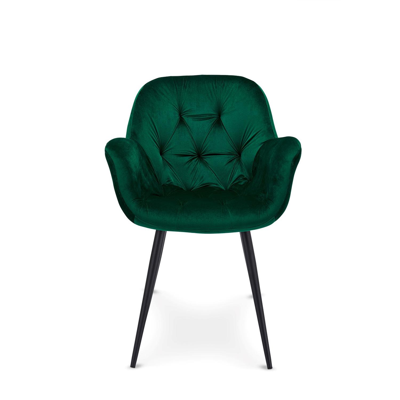Salina spisebordsstol m. armlæn - grøn velour