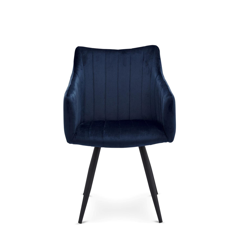 Linda spisebordsstol m. armlæn - blå velour