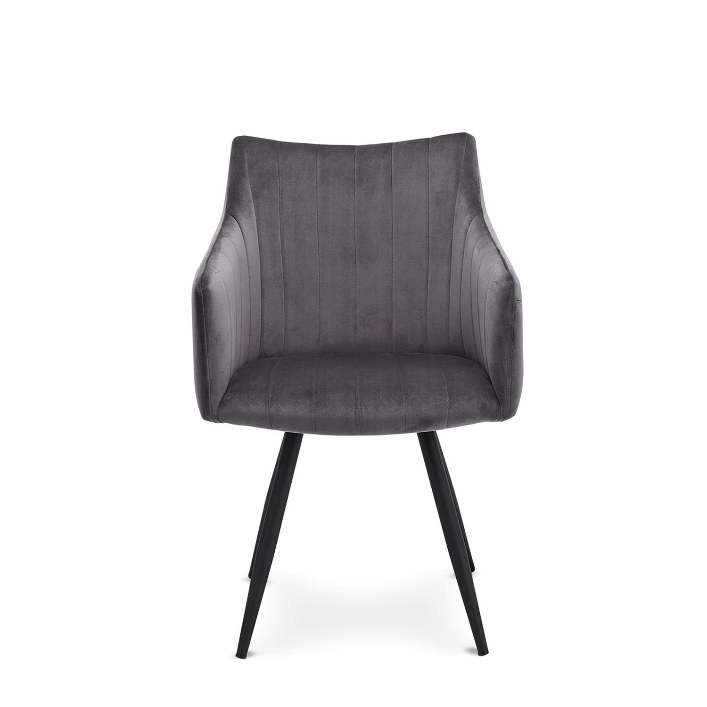 Linda spisebordsstol m. armlæn - grå velour