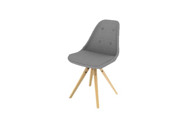 No. 1 spisebordsstol - gråt stof m. eg stel