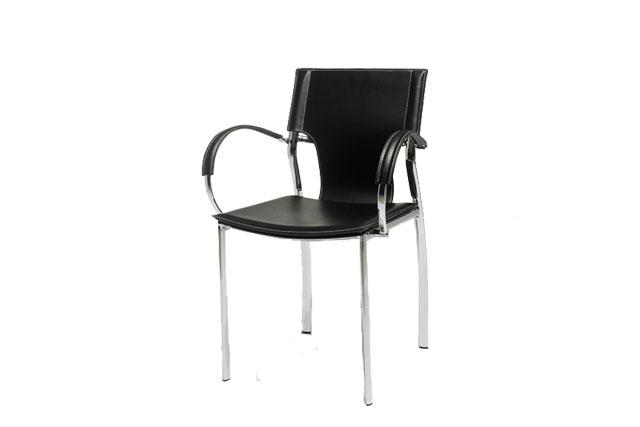 Draco spisebordsstol - sort læder, m. metalstel, m. armlæn