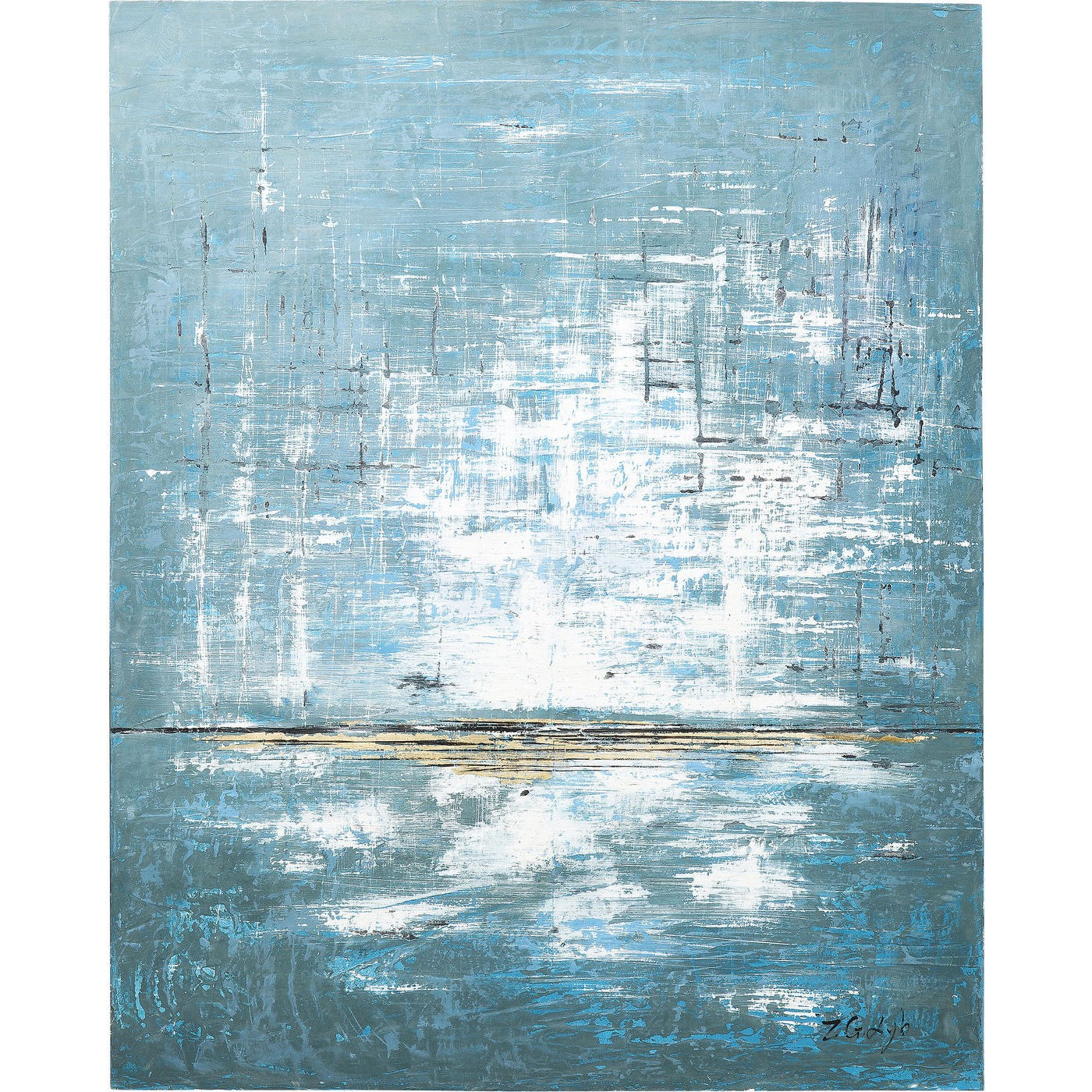 Image of   Oliemaleri Abstract Blue One 150 x 120 cm