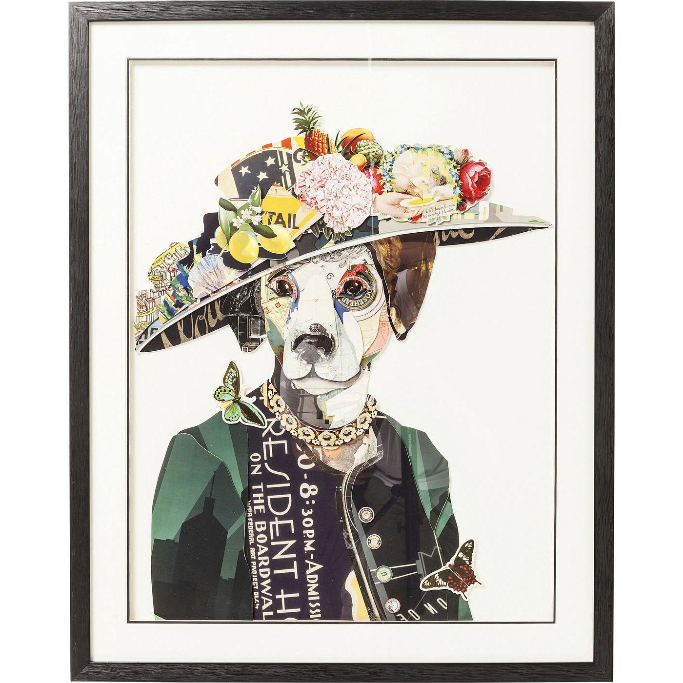 Image of   Billede Frame Art Lady Dog 90 x 72 cm