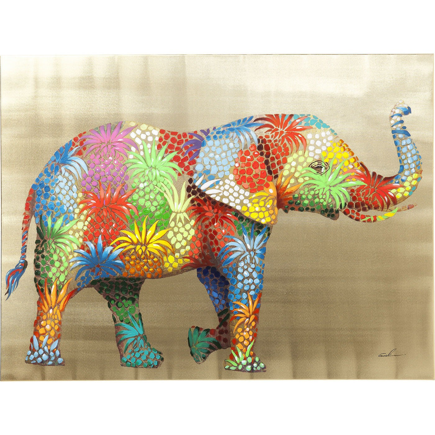 Image of   Billede Touched Flower Elefant 90 x 120 cm