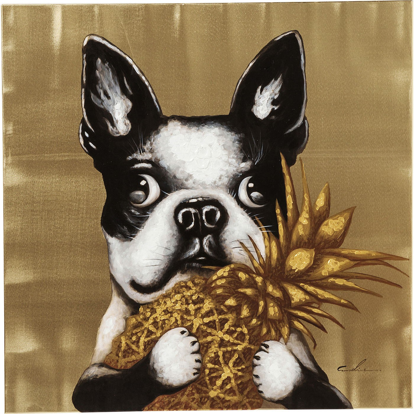 Image of   Billede Touched Dog with Pineapple 80 x 80 cm