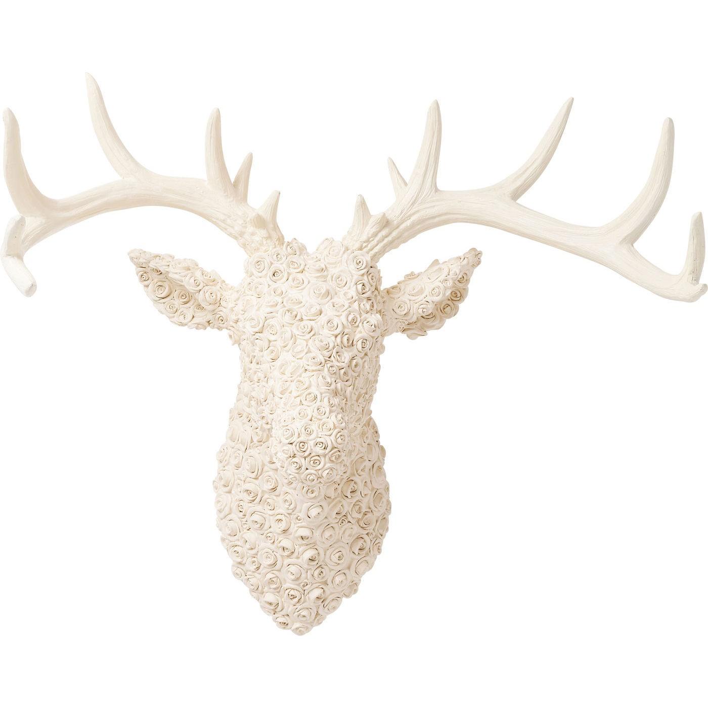 Billede af Vægdekoration Antler Deer Roses Hvid
