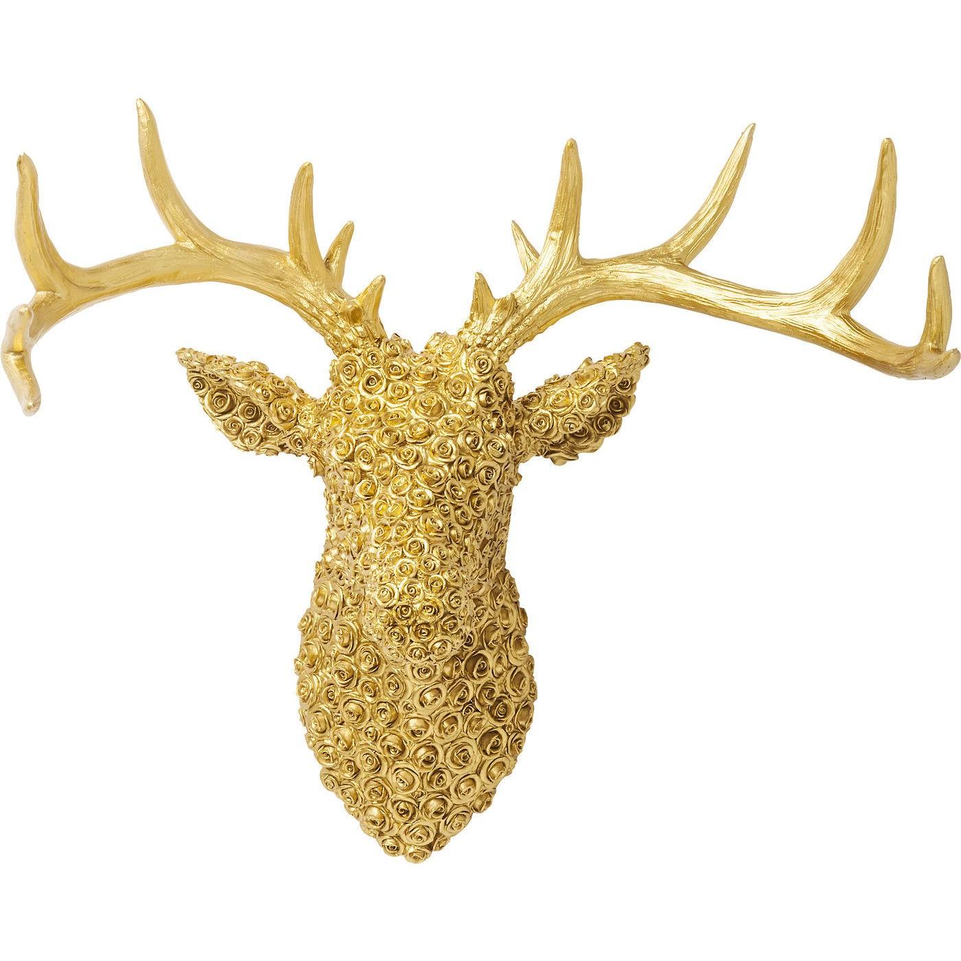 Billede af Vægdekoration Antler Deer Roses Guld