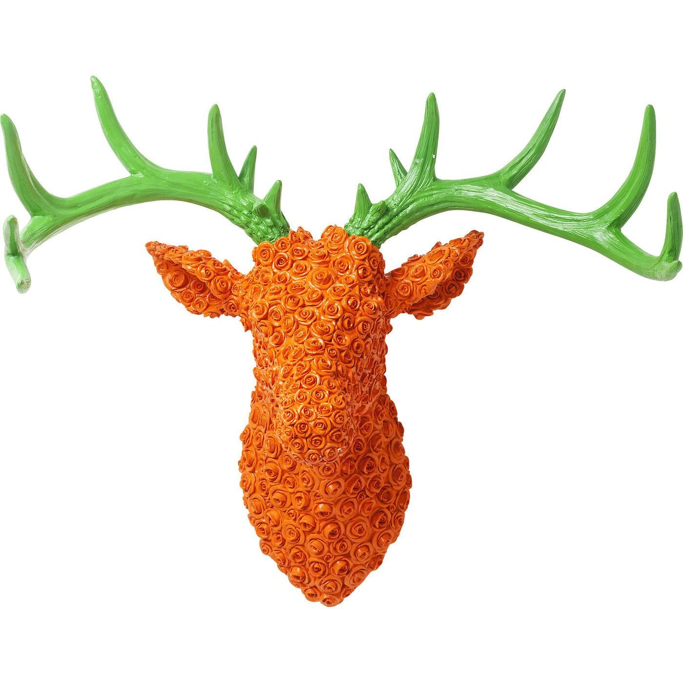 Billede af Vægdekoration Antler Deer Roses Orange Grøn