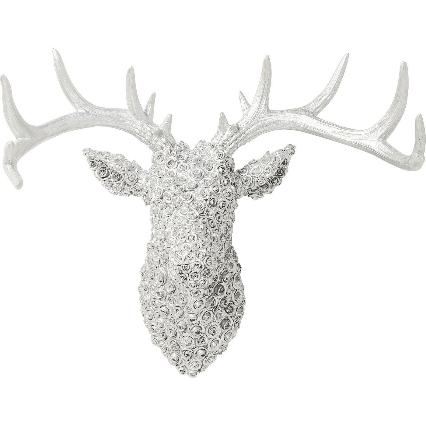 Vægdekoration Antler Deer Roses Krom