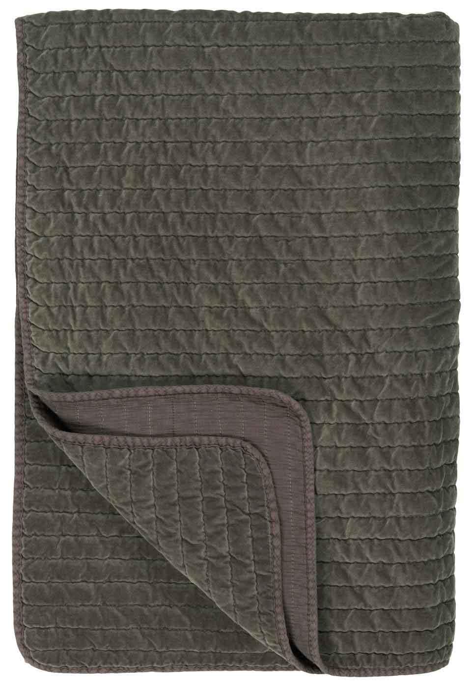 IB LAURSEN Quilt sengetæppe - jordfarvet velour