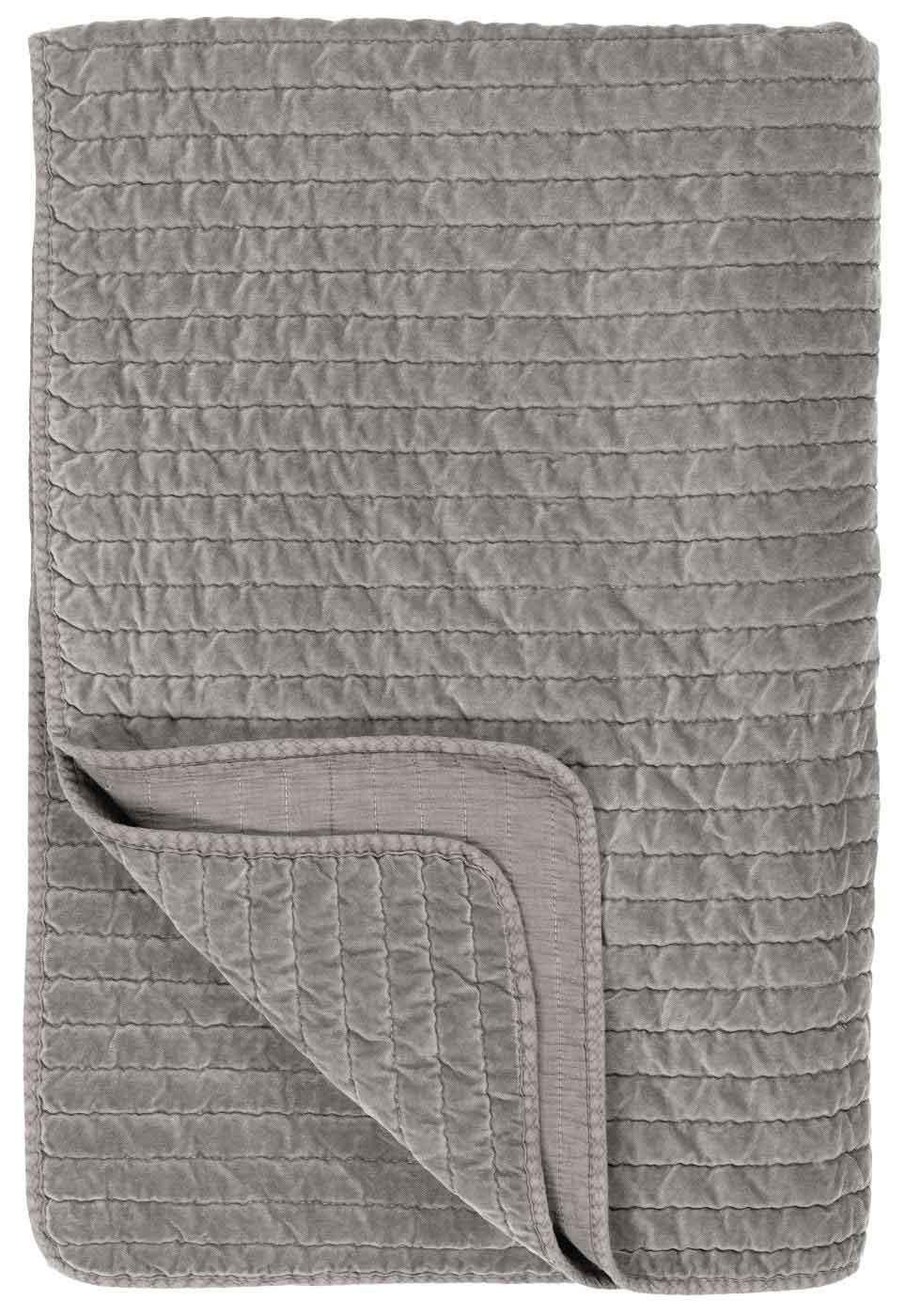IB LAURSEN Quilt sengetæppe - grå velour