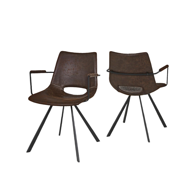 CANETT Berlin spisebordsstol m. armlæn - polyester og sort jern