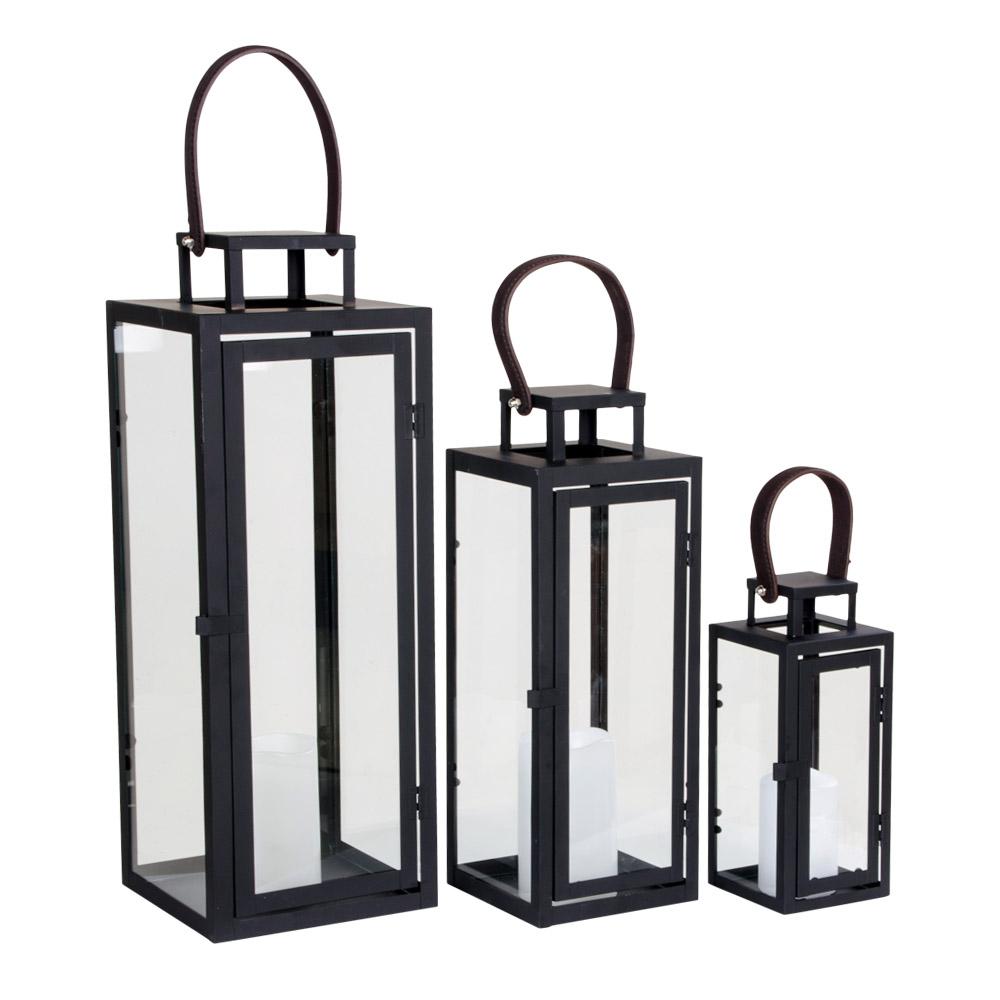 House nordic botin lanterne - sort stål/kunstlæder, (sæt ? 3) fra house nordic fra boboonline.dk