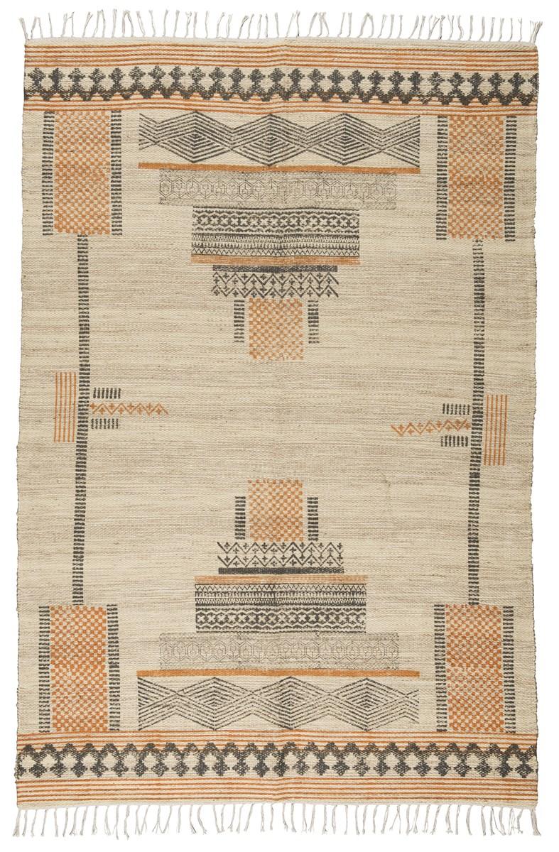 Billede af Ib Laursen Gulvtæppe m/inka mønster håndprintet jute/bomuld