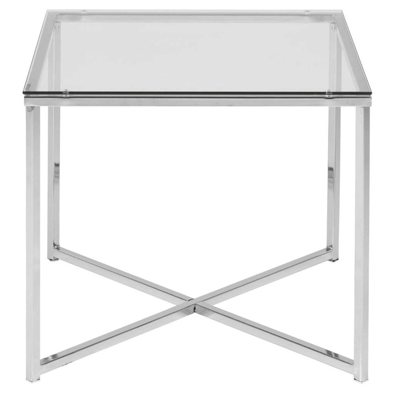 Billede af ACT NORDIC Cross hjørnebord, kvadratisk - klar glas og krom metal (50x50)