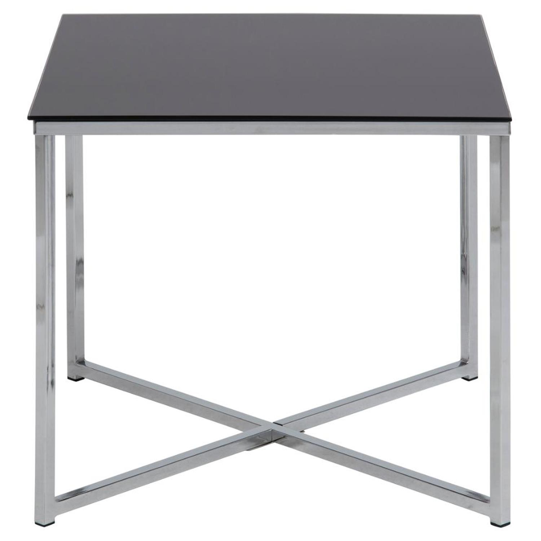 Billede af ACT NORDIC Cross hjørnebord, kvadratisk - sort glas og krom metal (50x50)