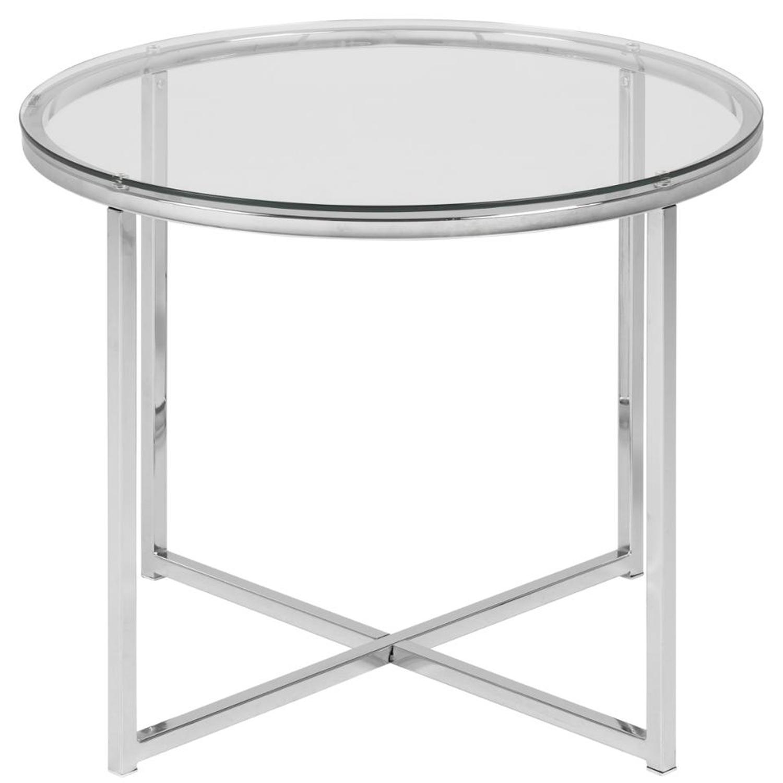 Billede af ACT NORDIC Cross hjørnebord, rund - klar glas og krom metal (Ø55)