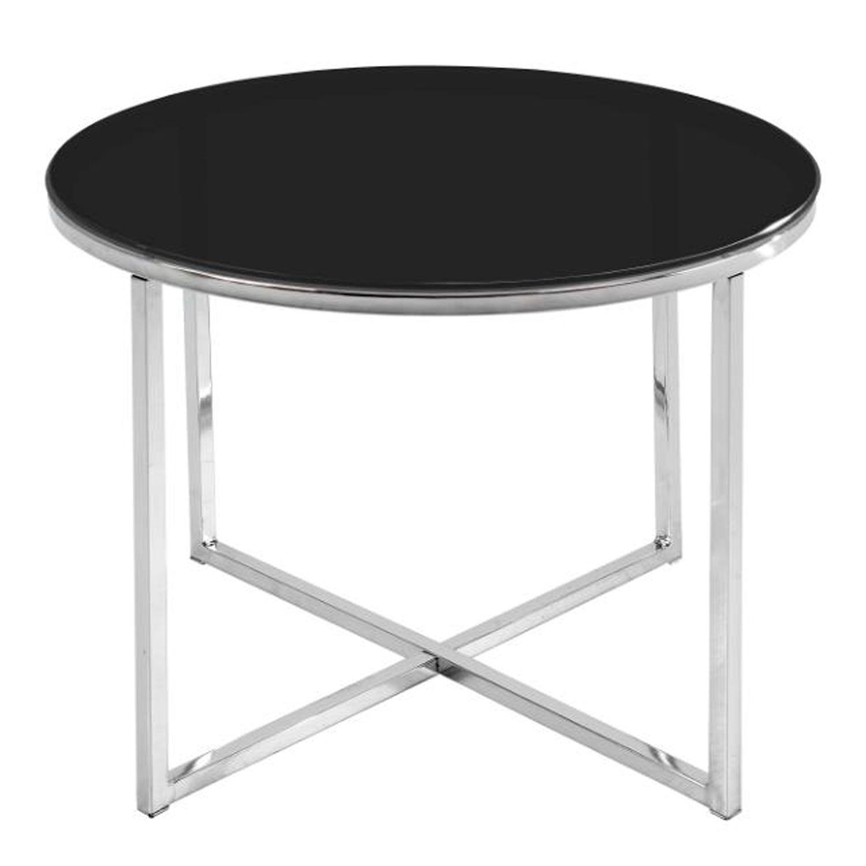 Billede af ACT NORDIC Cross hjørnebord, rund - sort glas og krom metal (Ø55)