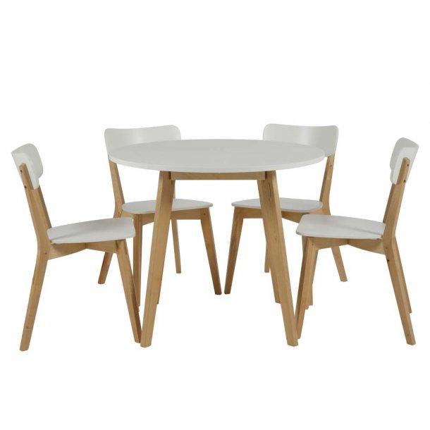 Raven spisebordsstol - hvid/natur