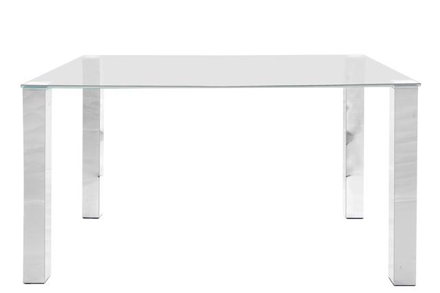 Kante spisebord - glasplade, metalstel