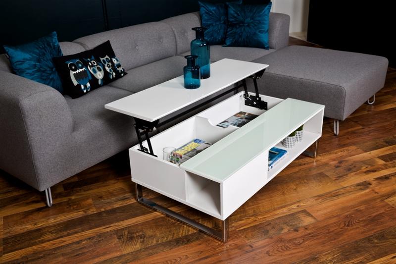 Azalea sofabord - hvidt træ, m. plads til obevaring, højglans