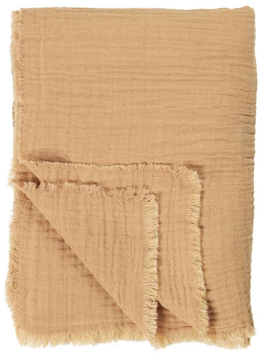 IB LAURSEN Dobbeltvævet plaid - sennepsfarvet bomuld