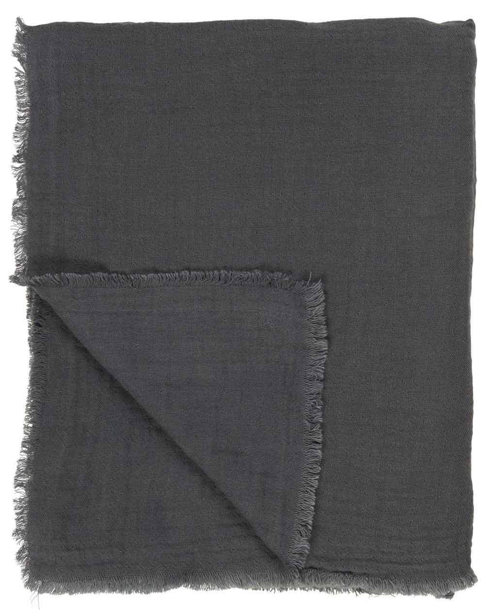 IB LAURSEN Dobbeltvævet plaid - mørkegrå bomuld