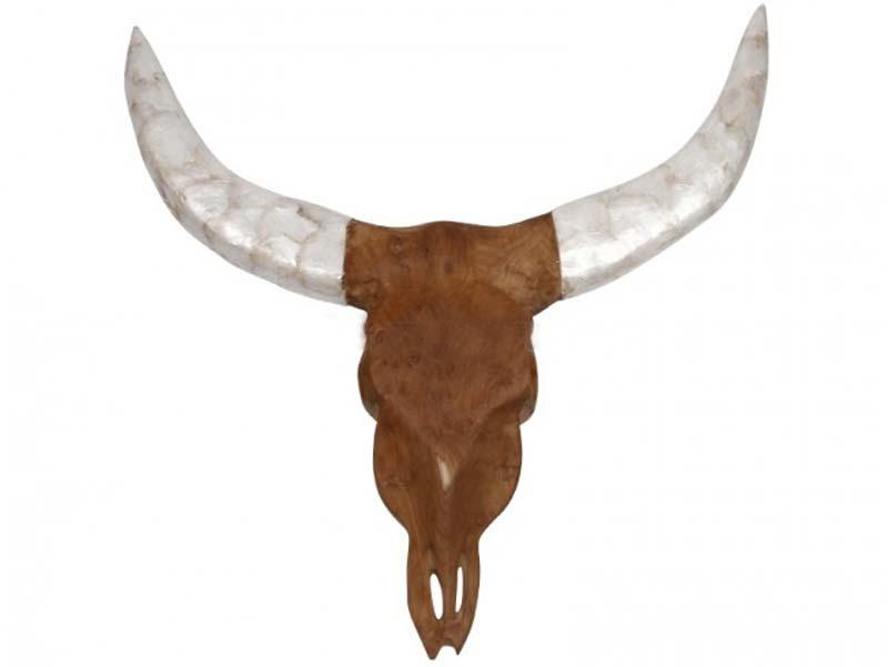 Preform buffalo hoved - teak træ, m. hvide horn