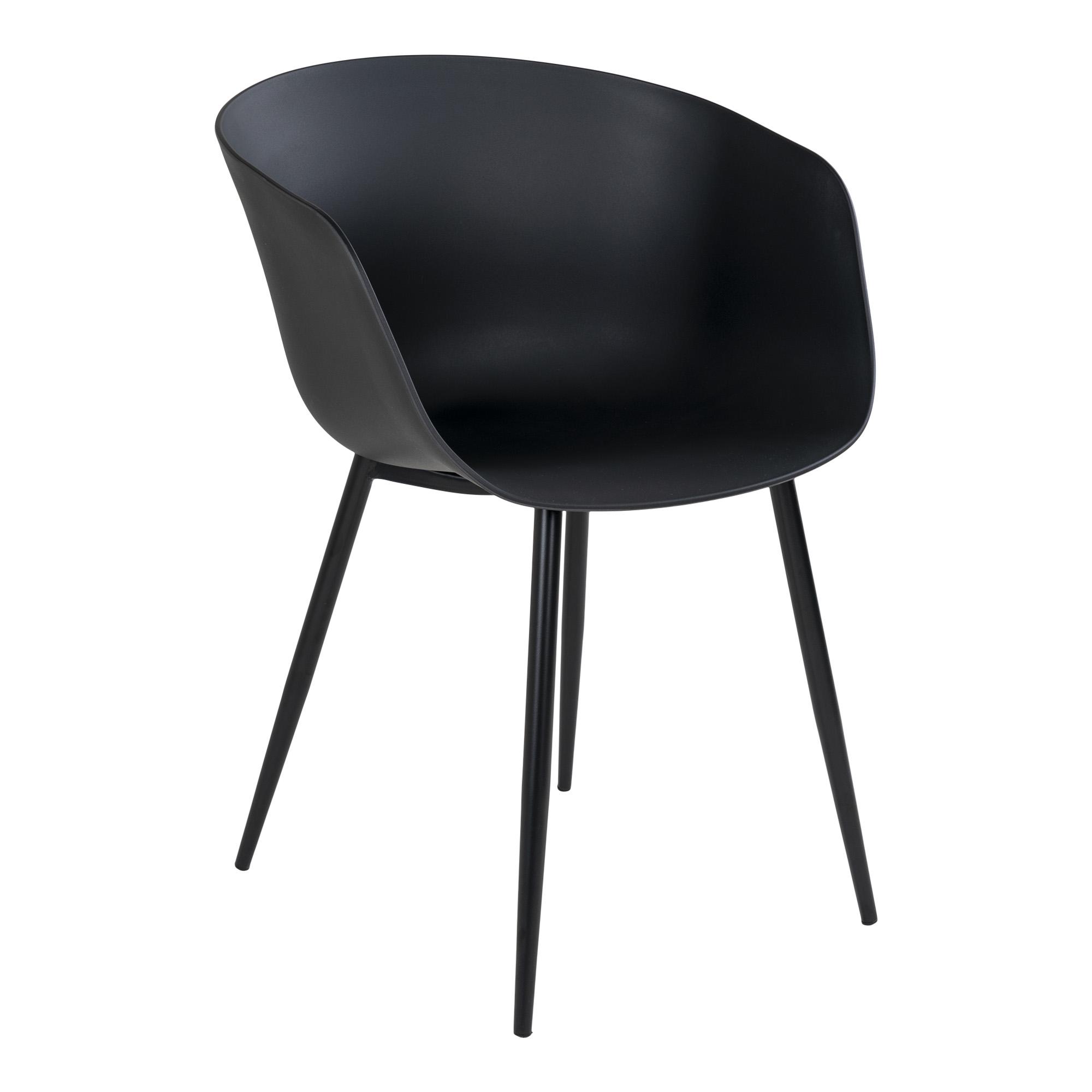 HOUSE NORDIC Roda spisebordsstol, m. armlæn - sort plastik og sort stål
