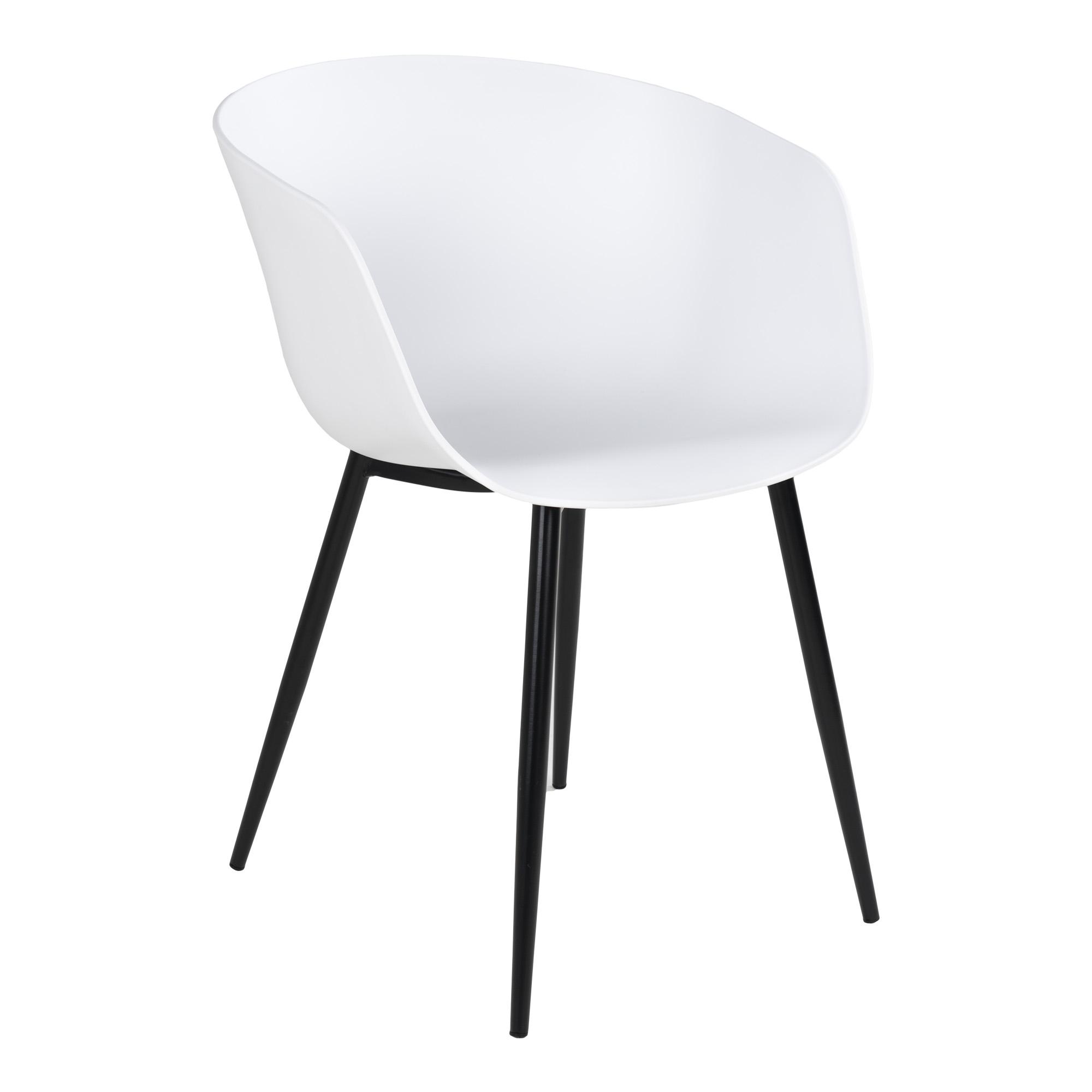 HOUSE NORDIC Roda spisebordsstol, m. armlæn - hvid plastik og sort stål