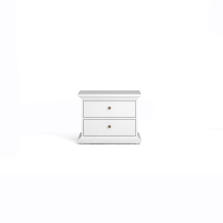 Paris sengebord - hvid træ, m. 2 skuffer thumbnail