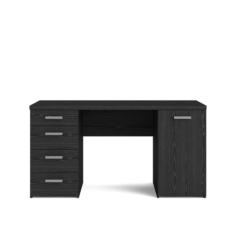 Function Plus skrivebord - Sort ask, m. 4 skuffer og skab