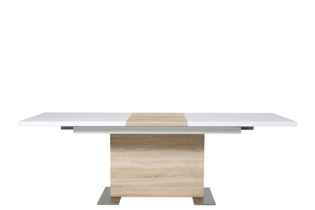Image of   Brick spisebord - hvid højglans/sonoma eg, incl. 1 tillægsplade (160x90) (210)