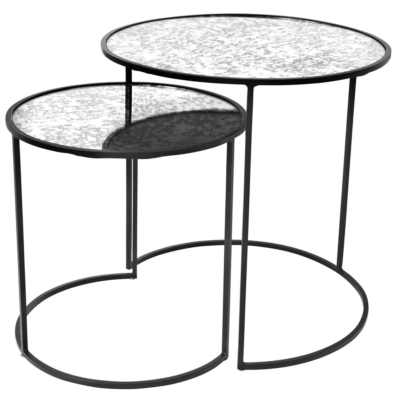 Image of   BROSTE COPENHAGEN Stends indskudsborde - glas og sort jern, (sæt á 2)