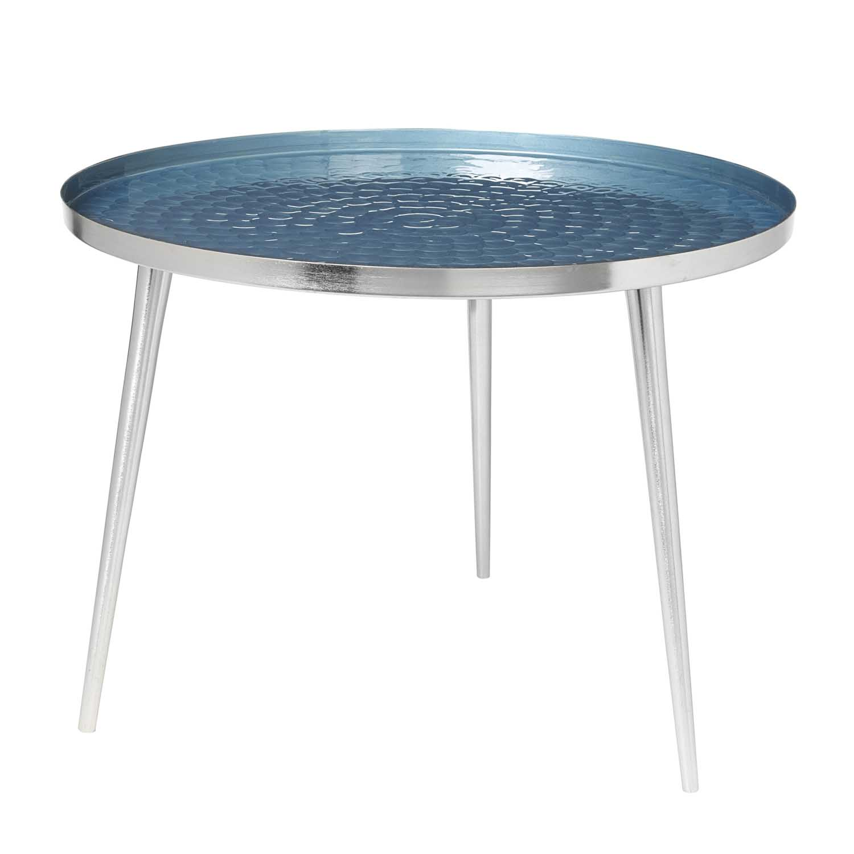 BROSTE COPENHAGEN Jelva sofabord - sølv/blå stål/aluminium, rund (Ø57)